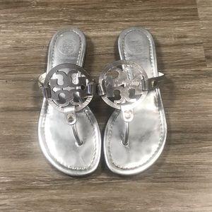 Tory Burch Miller Sandals Metallic Silver. 6.5